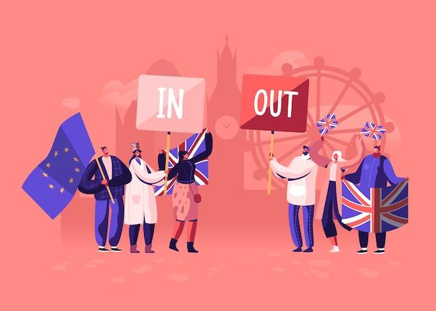 Multidão de pessoas com as bandeiras tradicionais da grã-bretanha e da união europeia separadas no brexit e apoiadores do anti brexit em manifestação. ilustração plana dos desenhos animados Vetor Premium