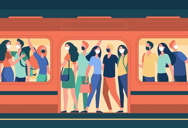 Multidão de pessoas com máscaras em pé no trem do metrô. transporte público, passageiros, ilustração em vetor plana passageiros. covid, epidemia, proteção Vetor grátis