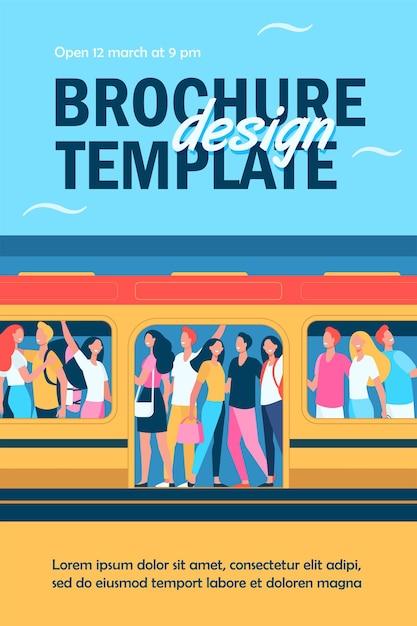 Multidão de pessoas felizes viajando de modelo de folheto de trem de metrô Vetor grátis