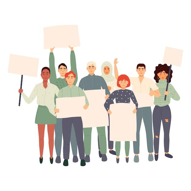 Multidão de pessoas protestando segurando banners e cartazes. homens e mulheres que participam de reuniões políticas, desfiles ou comícios. grupo de manifestantes ou ativistas masculinos e femininos. ilustração. Vetor Premium