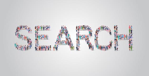 Multidão de pessoas reunindo em forma de palavra de pesquisa Vetor Premium