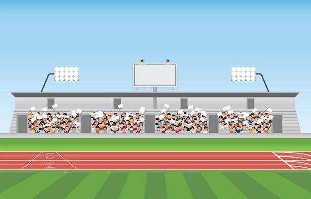 Multidão na arquibancada do estádio para aplaudir o esporte. Vetor Premium
