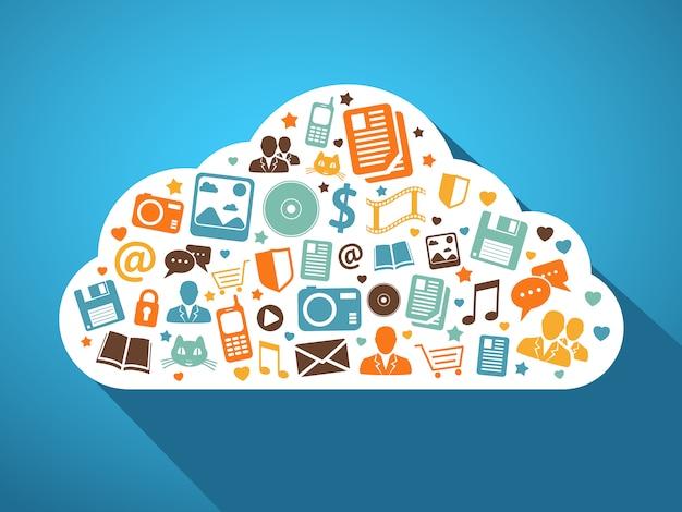Multimídia e aplicativos móveis na nuvem Vetor Premium