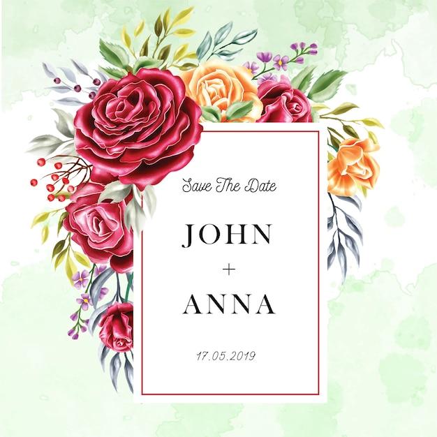 Multiuso rosa flor moldura convite de casamento em aquarela Vetor Premium