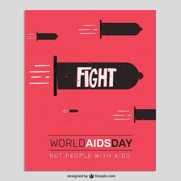 Mundial da aids cartão do dia com preservativos como balas Vetor grátis