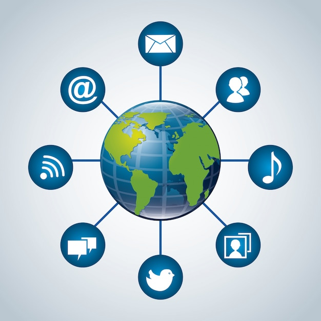 Mundo de comunicação sobre fundo azul Vetor Premium