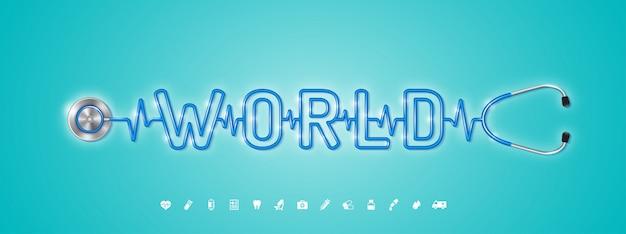 Mundo de cuidados de saúde e estetoscópio médico e ícones planas Vetor Premium