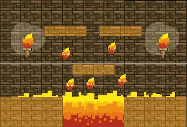 Mundo de jogo de arcade e cena de pixel Vetor grátis