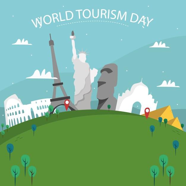 Mundo desenhado mão com monumentos e van Vetor grátis
