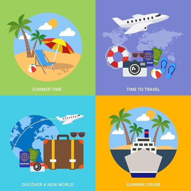 Mundo do conceito de turismo Vetor Premium