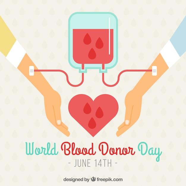 Mundo, doador, dia, fundo, dois, braços, sangue, transfusão Vetor Premium