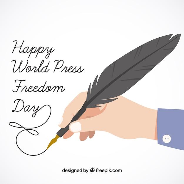 Mundo feliz fundo do dia a liberdade de imprensa Vetor grátis