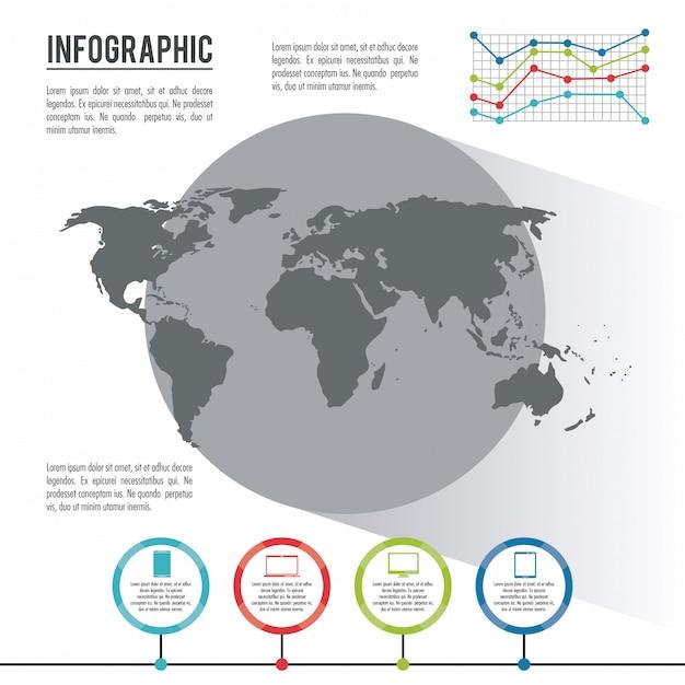 Mundo inteiro infográfico Vetor Premium