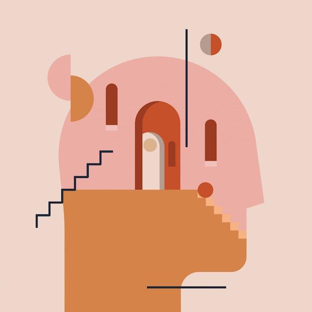 Mundo interior. processo de pensamento. mente aberta. os humanos dirigem a silhueta com arquitetura mínima moderna e formas geométricas abstratas dentro. conceito de psicoterapia psicológica. ilustração Vetor Premium