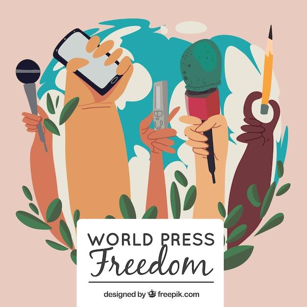 Mundo, liberdade, dia, fundo, mãos, segurando, objetos Vetor grátis