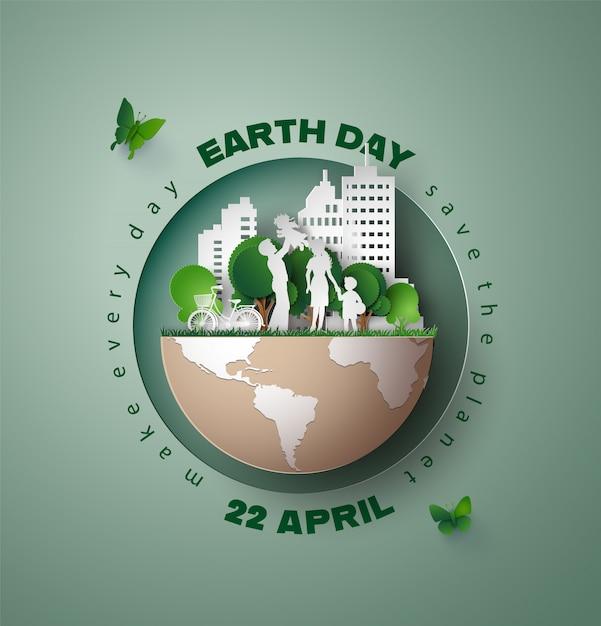 Mundo, meio ambiente, terra, dia, conceito Vetor Premium