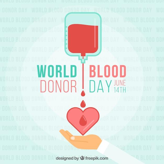 Mundo, sangue, doador, dia, coração, ilustração Vetor Premium