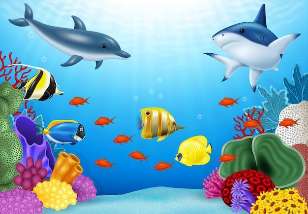 Mundo subaquático bonito com corais e peixes tropicais. Vetor Premium