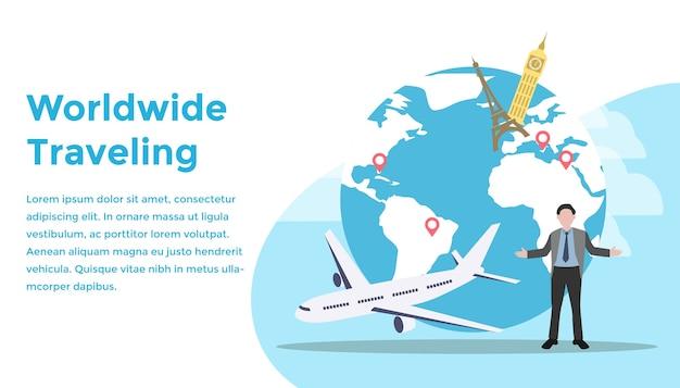 Mundo, viajando, conceito Vetor Premium