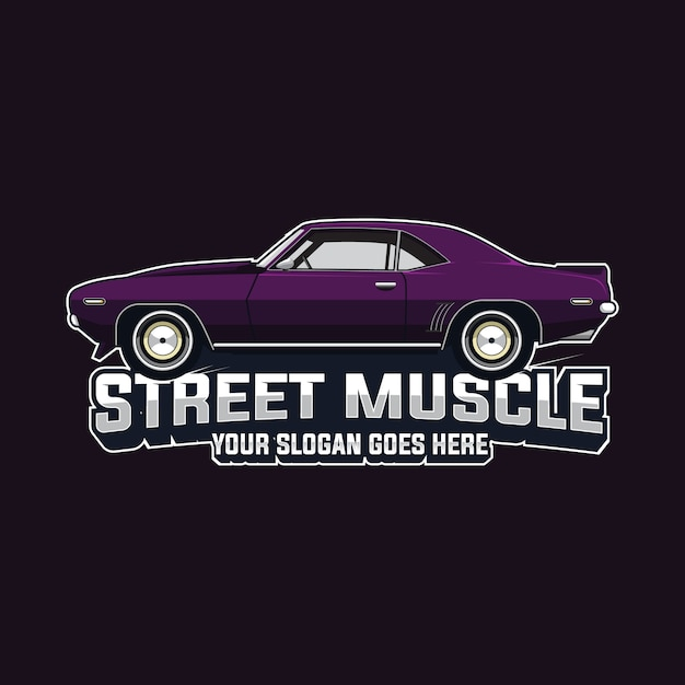 Muscle car logo vector template Vetor Premium