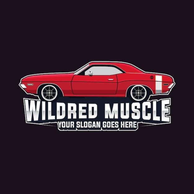 Muscle car logo vector template Vetor Premium