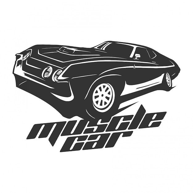 Muscle car logo vector Vetor Premium