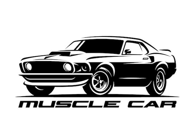 Músculo carro retrô logotipo, emblema. Vetor Premium