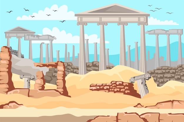 Museu ao ar livre da grécia antiga, colunas de mármore antigas, ruínas da cidade grega ou arquitetura histórica do império romano Vetor Premium
