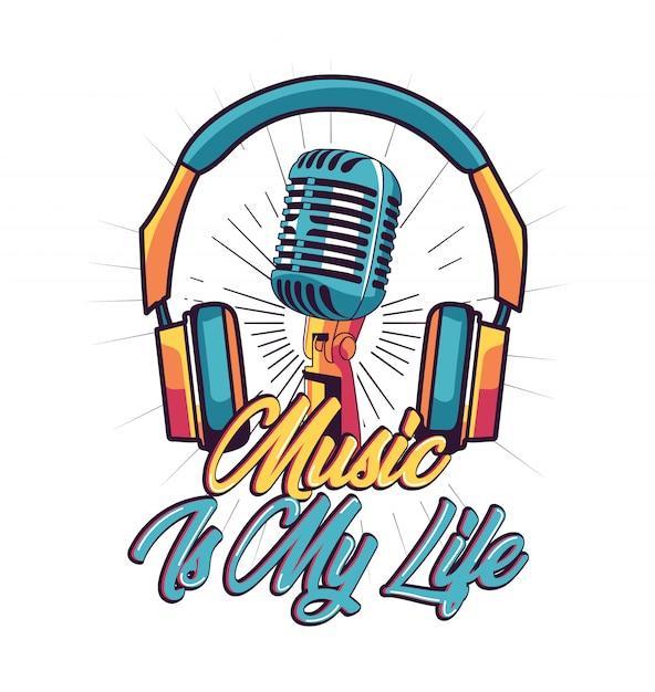 Music is my life vetor para design de camisa de t Vetor Premium