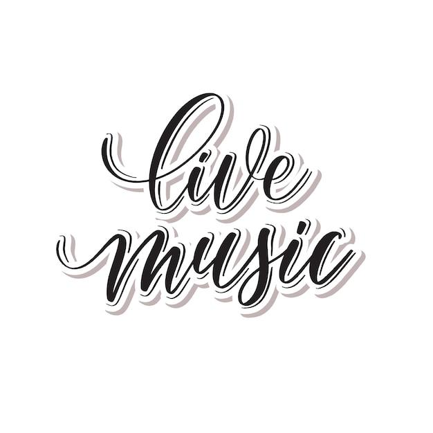 Música ao vivo - letras de mão. Vetor Premium