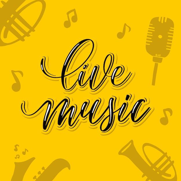 Música ao vivo - mão lettering cartão. Vetor Premium