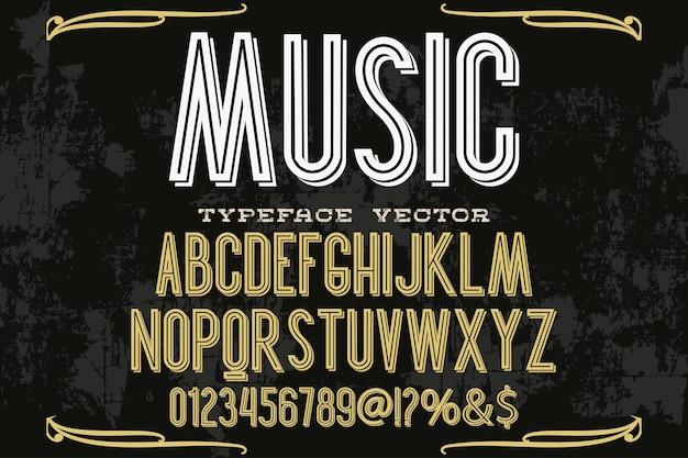 Música de design de rótulo de tipografia vintage Vetor Premium