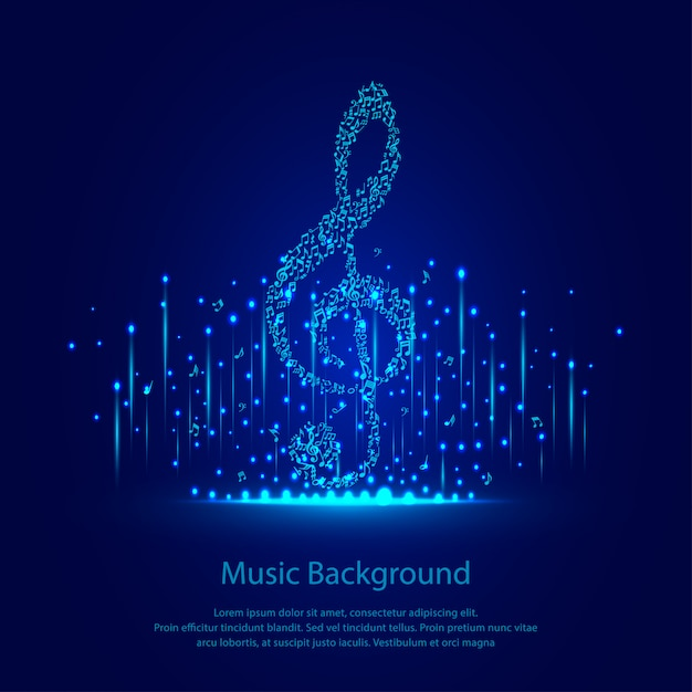 Música de fundo com brilhos azuis Vetor Premium