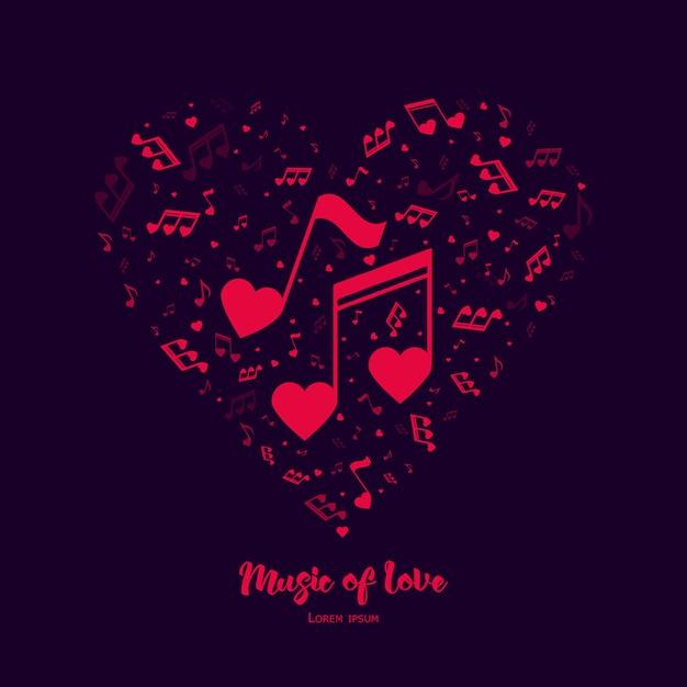 Música do amor. Vetor Premium