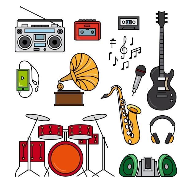 Música e instrumentos musicais Vetor Premium