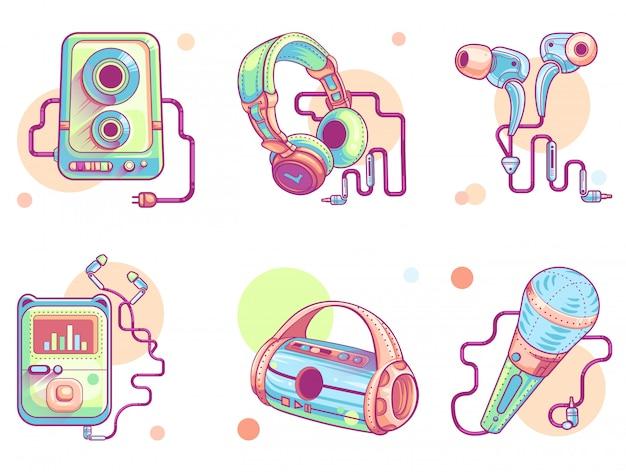Música ou ícones de arte de linha de áudio Vetor grátis