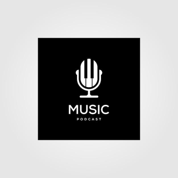 Música podcast rádio logotipo ícone ilustração design Vetor Premium