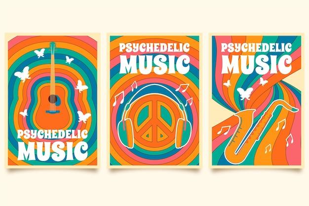 Música psicodélica abrange modelo conjunto Vetor Premium