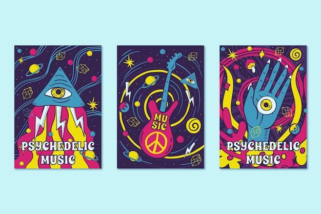 Música psicodélica cobre o estilo dos anos 60 e 70 Vetor grátis