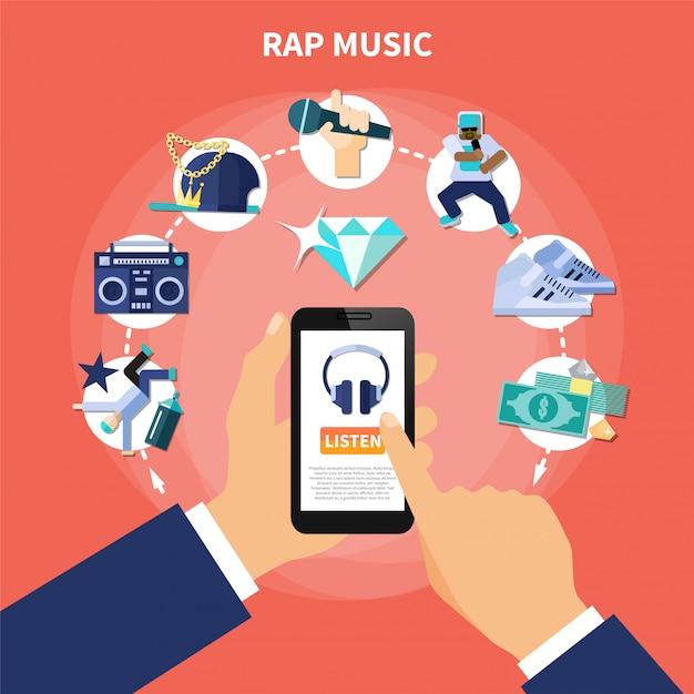 Música rap ouvir composição plana Vetor grátis