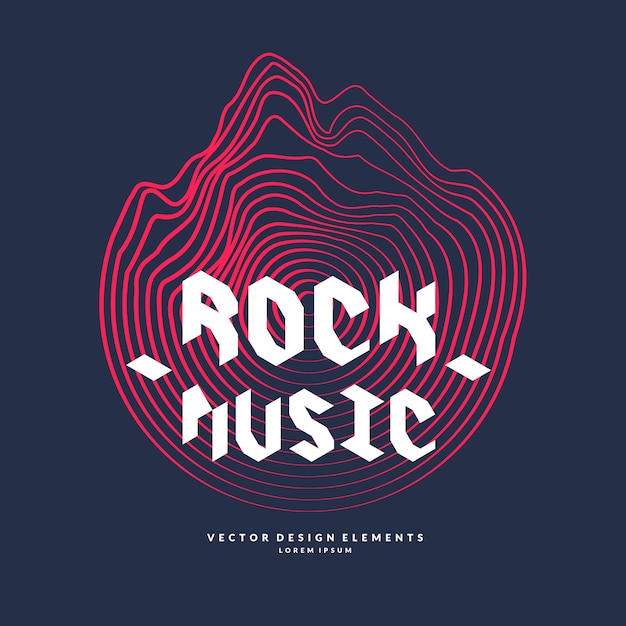 Musica rock. cartaz da onda sonora. Vetor Premium