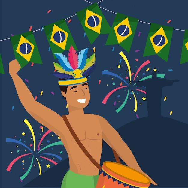 Músico de homem com decoração de tambor e fogos de artifício Vetor Premium