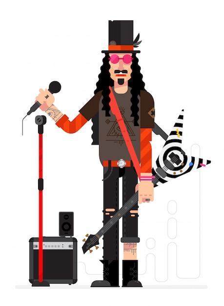 Músico de rock no estilo dos desenhos animados. vetor. Vetor Premium