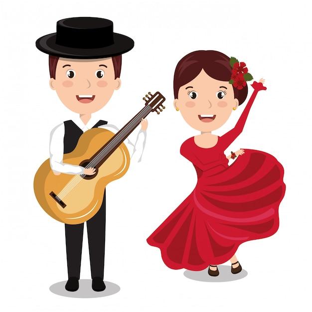 Músico flamenco com dançarina isolado ícone do design Vetor Premium
