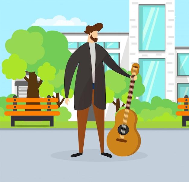 Músico talentoso guy holding guitar on street. Vetor Premium