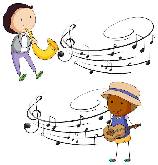 Músicos tocando musica com notas em segundo plano Vetor grátis