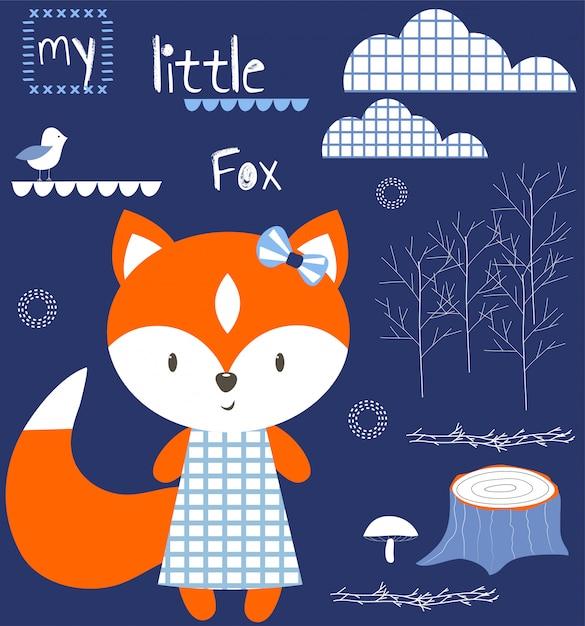 My little fox babyshower ilustração Vetor Premium