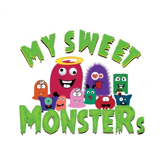 My sweet fluffy monstros família completa Vetor grátis
