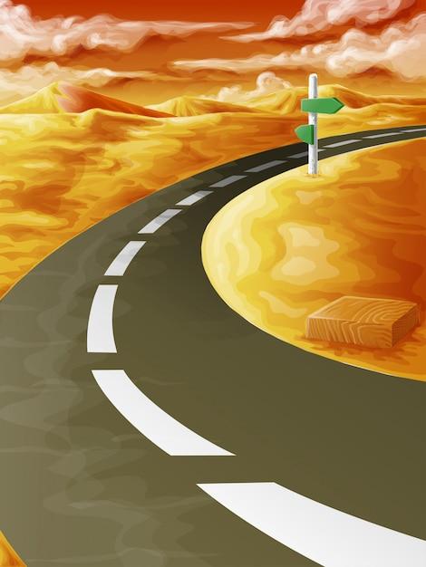 Na estrada no nascer do sol. Vetor Premium