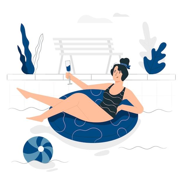 Na ilustração do conceito de piscina Vetor grátis